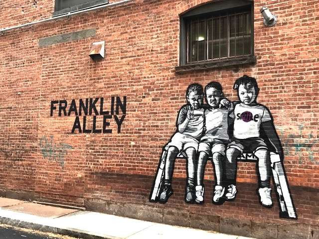 Thank God for outdoor public art!<br />Franklin Alley in Troy New York